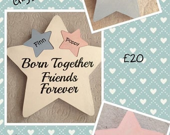 Wooden star with inserts