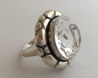 Natural white Crystal Ring, Evening Wear Jewelry, Bridal Jewelry, Statement Ring, 925 Sterling Silver, Size 8.25 Q Uk