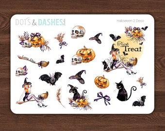 H2D- Halloween 2 decorative sheet, halloween stickers, bewitched sticker, spooky stickers, sassy halloween, halloween planner sticker,