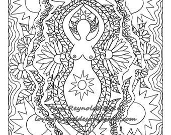 Printable Coloring Page, Coloring Pages, Summer Solstice Goddess, Litha Goddess, Goddess Print, Mandala Wall Art, Goddess Coloring Page
