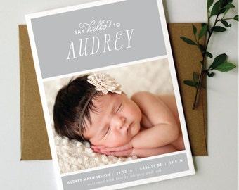 SAY HELLO Birth Announcement // Boy Birth Announcement // Girl Birth Announcement // Photo Birth Announcement // Grey // Modern // Floral