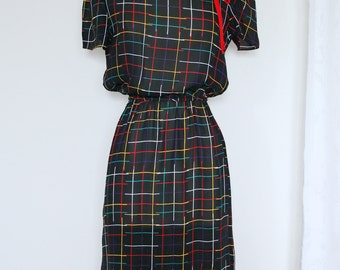 Vintage 1980's Black Multicolour Windowpane Dress With Removable Rose Pin