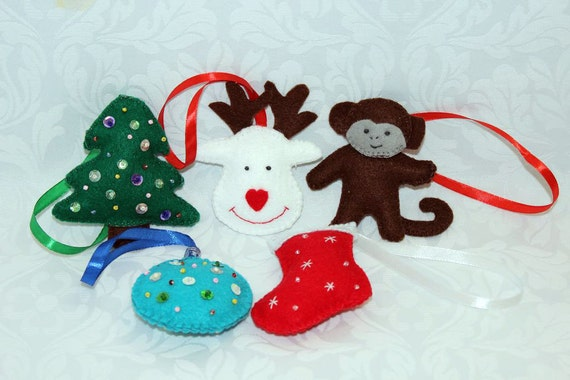 Toys made of felt / Toys on the Christmas tree / Christmas decorations / Christmas toys / Christmas Gift Set / New Year toys