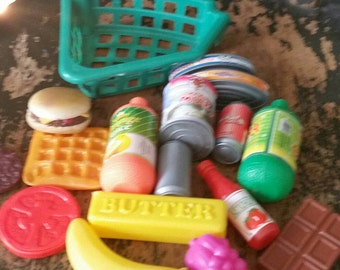 Various 1990s Plastic Play Food Items and Basket/Childs Toy/Play Kitchen Food/Pretend Play/Daycare Toys