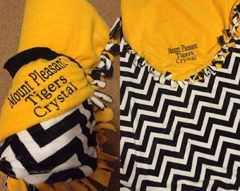 Embroidered Mount Pleasant, TX High School Hand Tied No Sew Fleece Blanket