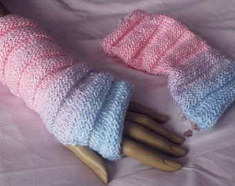 A pair of knitted wrist warmers