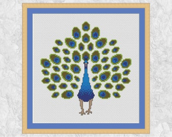 Peacock cross stitch pattern, stylised bird counted xstitch, nature, feather, exotic, bird cross stitch chart, modern PDF - instant download