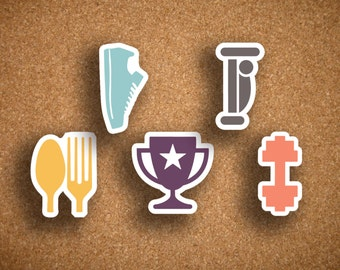 50 Fitness, Run, Sleep, Meal, Lift, Workout, Reward Planner Stickers for Inkwell Press IWP-DCFS1