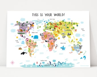 Baby girl gift etsy baby girl gift unique baby girl gifts world map poster baby girl nursery negle Images