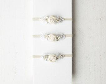 Pure* flower jewel newborn headband in white