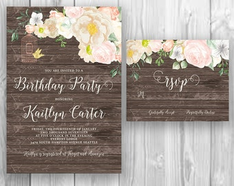 Floral Calligraphy Birthday Party Invitation Printable Wood Boho Chic Party Invite Suite Bohemian Wedding Invite Spring / Summer Wedding