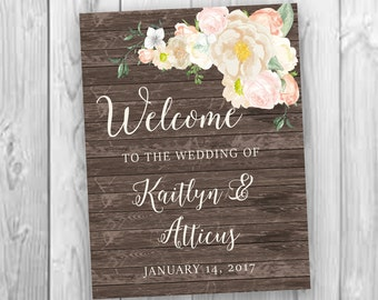 Bohemian Wedding Greeting, Wedding Entrance Sign, Printable Boho Chic Welcome Sign, Floral Wedding Welcome Sign, Digital File
