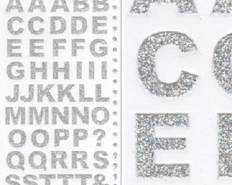 15mm Tall Silver Glitter Bold Alphabet Letter Craft Stickers for Card Making, Embellishments, Scrap Booking, Gift Tags, Craft Projects