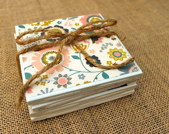 Coasters, Chic and Shabby Flowers, Set of 4, Tile