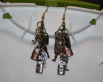 Tricolor Lock & Key Earrings