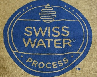 Blue Burlap Bag, Coffee Bean Bag,  Swiss Water Process,  Coffee Bean logo