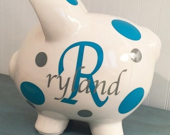 Personlized Custom Large Graphic Piggy Bank Dot