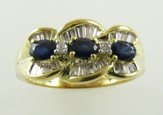 Sapphire Ring with Diamond and 14k Yellow Gold