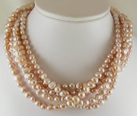 Freshwater Pink Pearl Necklace with Sterling Silver Clasp 18 Inches