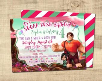 WRECK IT RALPH Sugar Rush Birthday Invitation - Digital/Printable - Vanellope - Sugar Rush Party