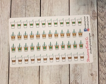 Coffee/Iced Coffee Themed Planner Stickers- Made to fit Vertical Layout