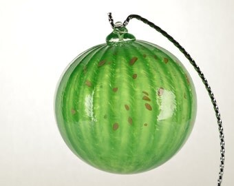 Hand Blown Glass Christmas Ornament Green with beige flecks