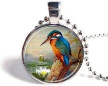 Kingfisher Pendant, Kingfisher Jewelry, Bird Jewelry, Blue Kingfisher Necklace, Picture Pendant, Bird Keychain, Kingfisher Keyring