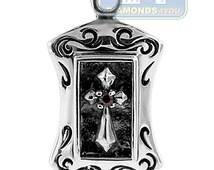 Mens Womens Vintage Medallion Cross Pendant 925 Oxidized Sterling Silver
