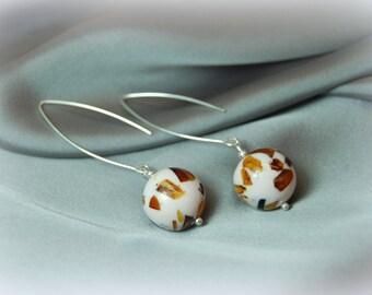 Mosaic Ball Amber Silver Earrings