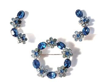Coro Blue Rhinestone Flowers Brooch and Climber Clip Earrings Set Sparkling Rhinestones Silver Tone Metal Crawler Formal Mid Century Vintage