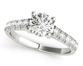 Simple Engagement Ring, Forever One Moissanite Ring, Moissanite Engagement Ring, Simple Diamond Ring.
