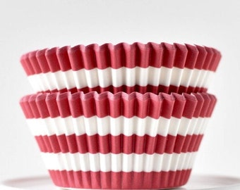 Red Stripe Cupcake Liners | Baking Cups | Standard Size