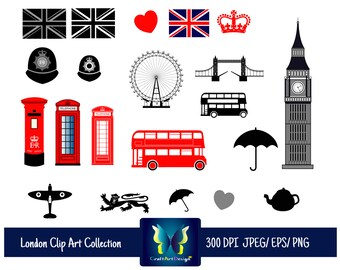 SALE 50 % London - British Clipart - 2 Sets in 1, England, UK, Bus Clipart, Telephone Booth Clipart, Big Ben.