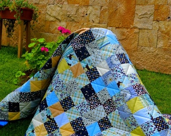 Classic patchwork throw quilt