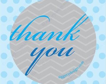 Thank You Sticker (Blue/Grey)
