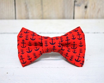 Red and Blue Nautical Anchor Dog Bow Tie