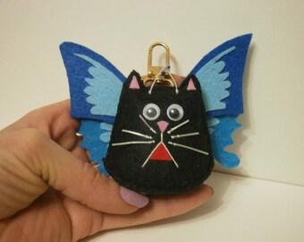 Felt Cat - Butterfly Keychain.Cat Keychain,Butterfly Keychain , Felt Keychain,  Felt Kitty, Black Cat Keychain, Cat Accessories.
