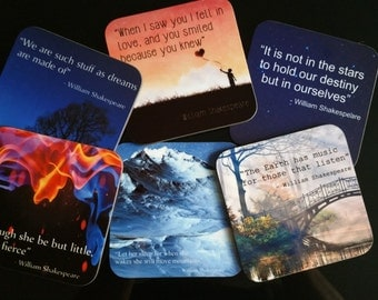 Personalised Coasters - Shakespeare Quotes (Set of 6)