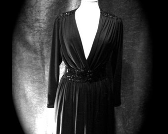 Gorgeous Gothic glamour vintage 1970s dress with sequinned waist and shoulder detail Size UK 10/12/14- medium-large