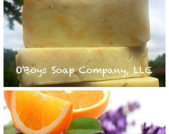 Sweet Orange and Lavender All Natural Soap, Lavender Orange Soap, Vegan Soap, Orange and Lavender Soap, Calming Soap, Lavender and Orange