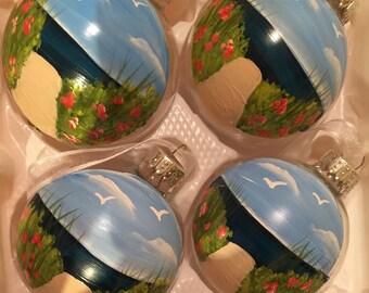 Hand painted beach themed Wedding Favor ornaments