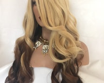 """PEPPER Blonde Brown Ombre Long Hair Lace Front Part Wig 22"""""""