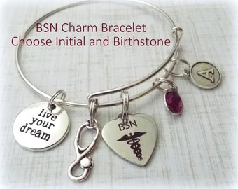 Gift for Nurse, BSN Charm Bracelet, Nurse Charm Bracelet, Gift Ideas for Nurse, RN Charm Bracelet, BSN Charm Bracelet, Personalized Gifts