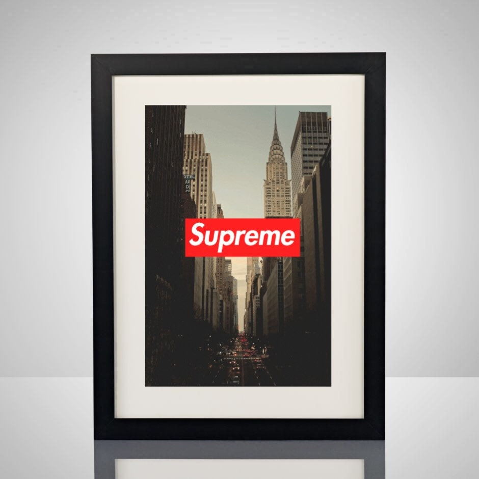 supreme new york box logo 11x17 poster print wall by. Black Bedroom Furniture Sets. Home Design Ideas