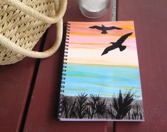 Hand Painted Spiral Journal; FREE SHIPPING; Wire Bound Blank Notebook; Writing, Sketching ; Unique Gift, Small Sketchbook; Seagulls Flying