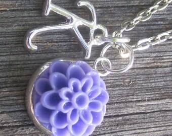 Purple Chrysanthemum Necklace - Flowergirl Jewelry - Purple Wedding - Purple Flowergirl Necklace