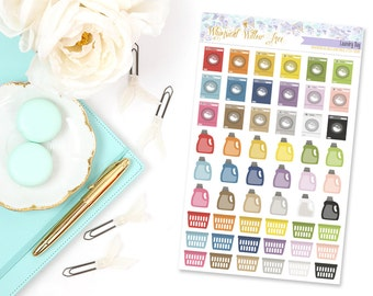 54 Laundry Kit / Washer Machine Stickers | Perfect For Your Erin Condren Life Planner