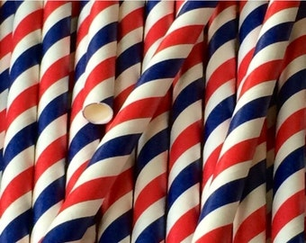 Red, White and Blue Stripped Straws (25pcs)