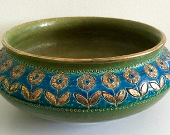 Stunning Gold/Green Rosenthal Netter Large Bowl -MINT-signed