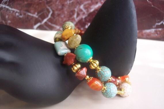 Memory wire beaded bracelet-Turquoise beaded wire wrapped bracelet- bohemian beaded wire wrapped bracelet-turquoise beaded bracelet-bracelet